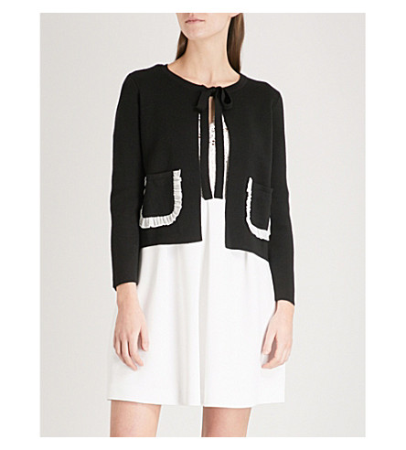CLAUDIE PIERLOT Frilled-trim wool-blend cardigan (Black
