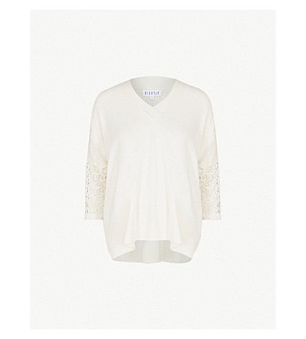 CLAUDIE PIERLOT Mania lace-panel knitted jumper (Cream