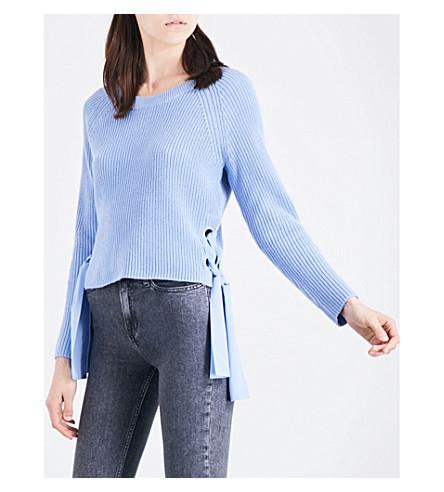 CLAUDIE PIERLOT Matelot tie-side cotton-blend jumper (Glacier