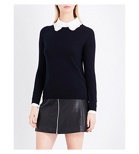 CLAUDIE PIERLOT Madame detachable ruffled-collar wool jumper (Marine