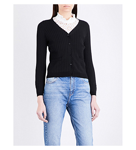 CLAUDIE PIERLOT Mondaine stretch-knit cardigan (Noir