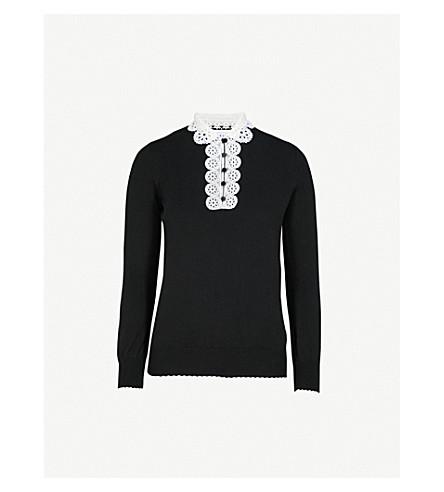 CLAUDIE PIERLOT Martine lace-collar cotton-blend jumper (Black