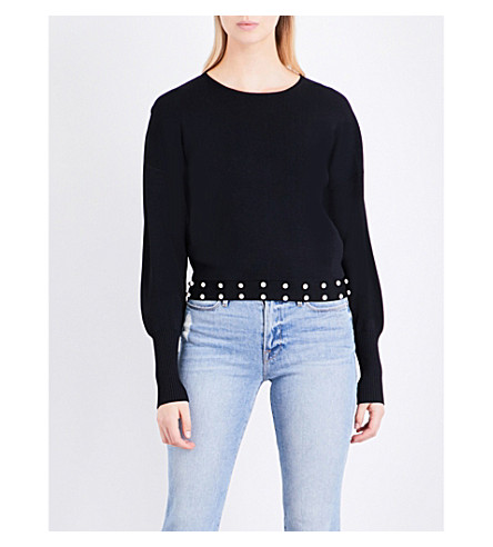 CLAUDIE PIERLOT Michi faux-pearl-embellished knitted jumper (Marine