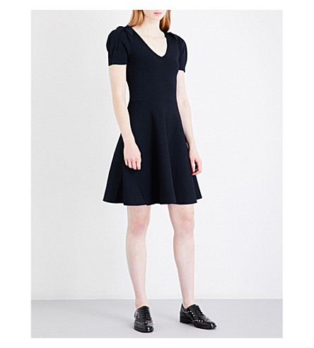 CLAUDIE PIERLOT Magnolia puff shoulders piqué dress (Marine