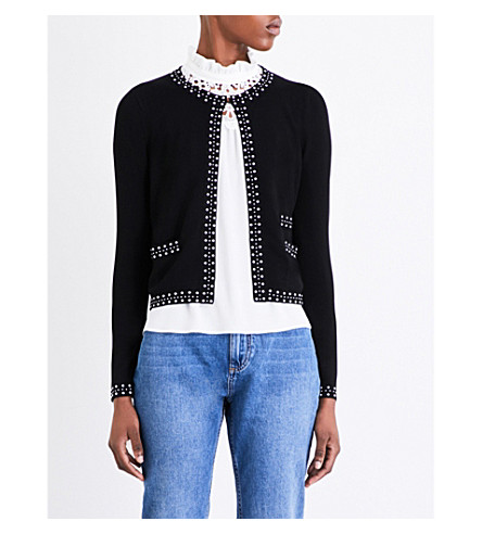 CLAUDIE PIERLOT Maxence embellished stretch-crepe cardigan (Noir