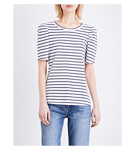 CLAUDIE PIERLOT Tomoko linen-blend T-shirt (Ecru