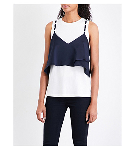 CLAUDIE PIERLOT Faux-pearl jersey and charmeuse top (Ecru