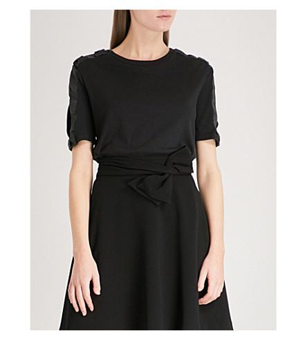 CLAUDIE PIERLOT Bow-detail cotton-jersey T-shirt (Black