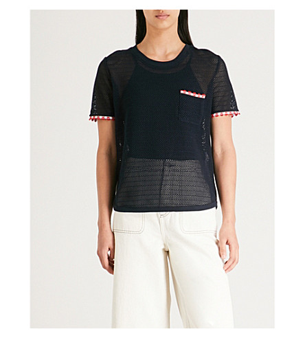CLAUDIE PIERLOT Embroidered-trim knitted T-shirt (Marine