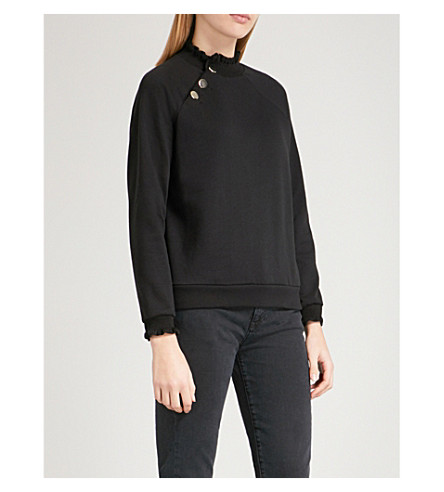 CLAUDIE PIERLOT Ruffle-trimmed cotton-blend jumper (Black