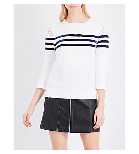 CLAUDIE PIERLOT Velvet stripe cotton-jersey sweatshirt (Ecru