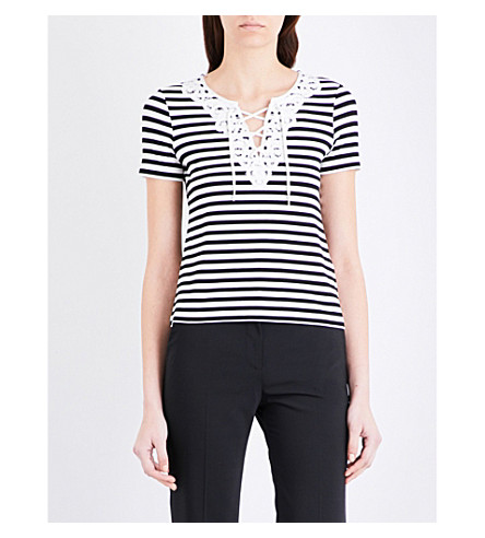 CLAUDIE PIERLOT Tamise striped jersey t-shirt (Noir