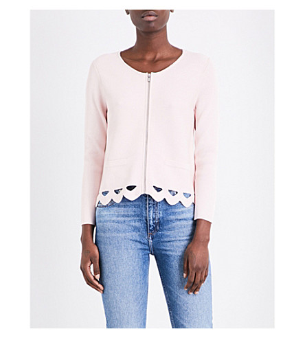 CLAUDIE PIERLOT Scalopped-cutout cardigan (Rose+pale