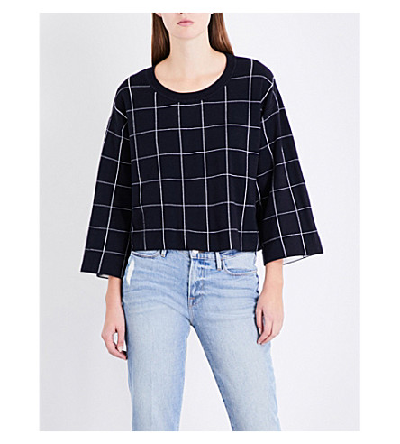 CLAUDIE PIERLOT Grid knitted sweatshirt (Marine