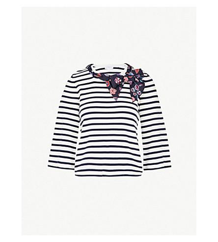 CLAUDIE PIERLOT 恶意条纹围巾详细棉 T 恤 (本色