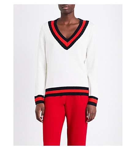 CLAUDIE PIERLOT Mike V-neck wool-blend jumper (Ecru