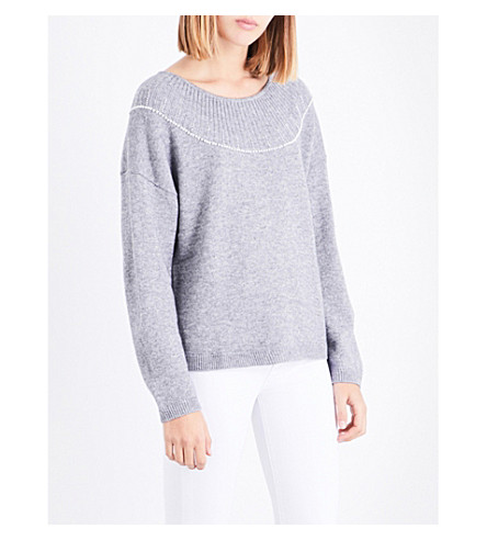 CLAUDIE PIERLOT Pearlescent beaded knitted jumper (Gris+chine+clair