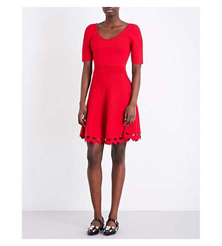 CLAUDIE PIERLOT Scalloped-cutout fit-and-flare knitted dress (Ruby