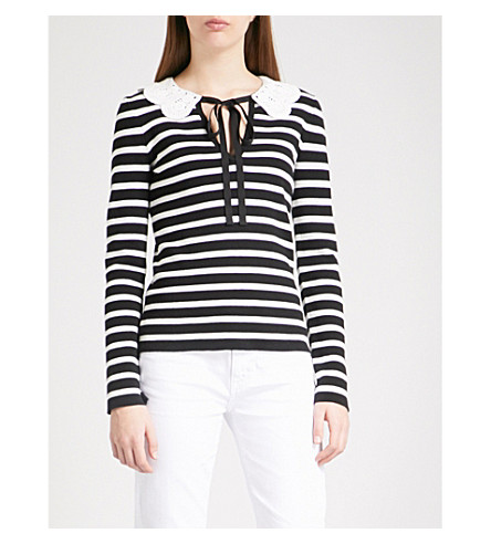CLAUDIE PIERLOT Malimba striped cotton jumper (Black