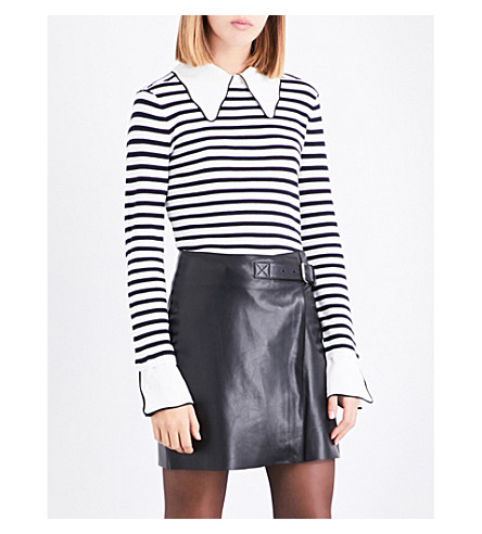 CLAUDIE PIERLOT Striped cotton and silk jumper (Ecru