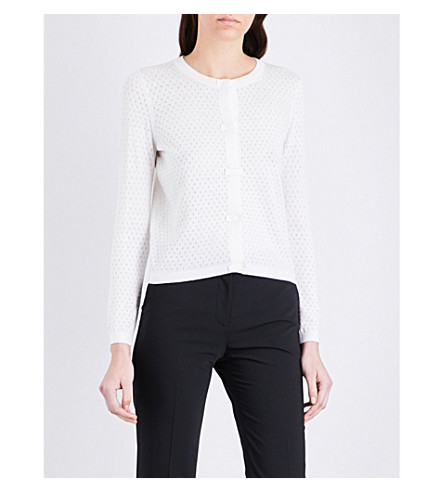 CLAUDIE PIERLOT Millie ditsy cotton-blend cardigan (Ecru