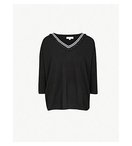 CLAUDIE PIERLOT Frilled-neck wool-blend jumper (Black