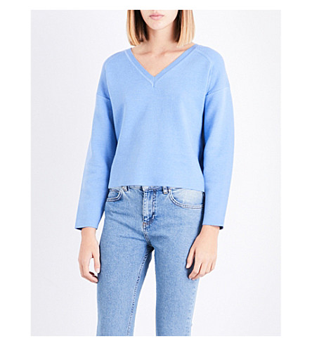 CLAUDIE PIERLOT V-neck cropped woven jumper (Ardoise