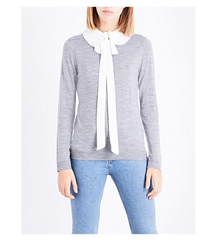 CLAUDIE PIERLOT Tie-detail wool jumper (Gris+chine+clair