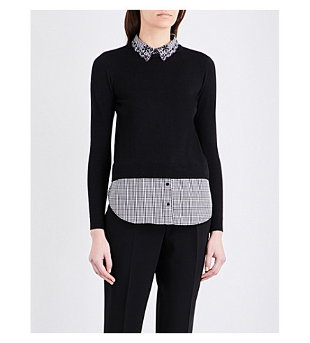 CLAUDIE PIERLOT Marylou cotton-blend jumper (Noir