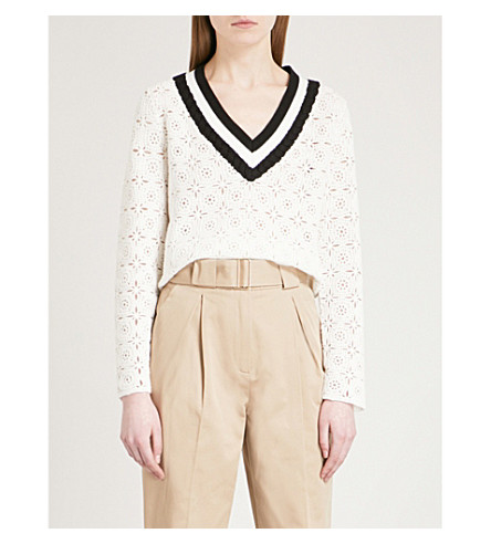 CLAUDIE PIERLOT Mainate floral crochet knitted jumper (Cream