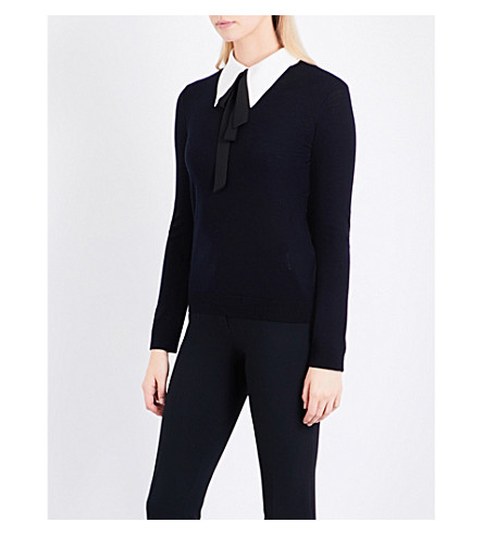 CLAUDIE PIERLOT Bow wool jumper (Marine