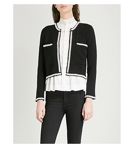 CLAUDIE PIERLOT Mandrine embellished knitted cardigan (Black