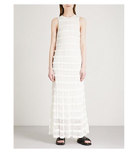 CLAUDIE PIERLOT Murmure ruffled knitted maxi dress (Cream