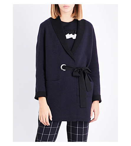 CLAUDIE PIERLOT Wrap-around knitted cardigan (Marine