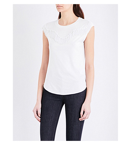 CLAUDIE PIERLOT Texas cotton-blend T-shirt (Ecru
