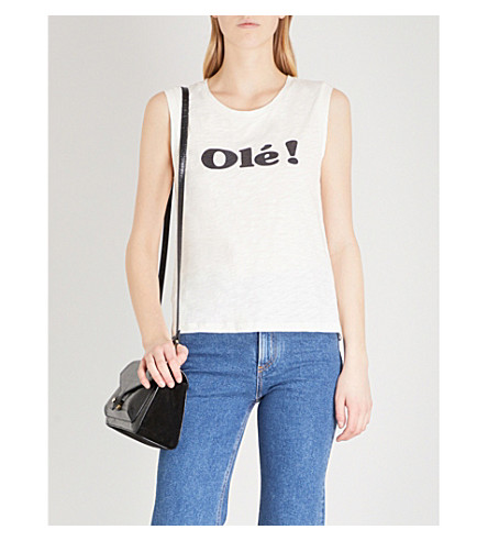 CLAUDIE PIERLOT Olé-print sleeveless cotton-jersey top (Cream
