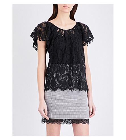 CLAUDIE PIERLOT Tonight floral lace top (Noir