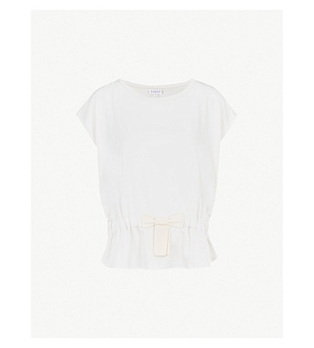 CLAUDIE PIERLOT Bow waist linen top (Cream