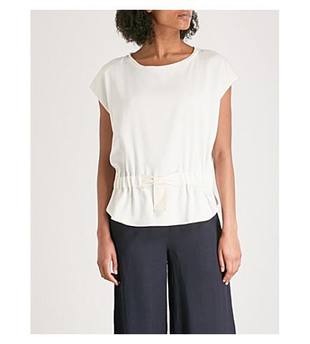 CLAUDIE PIERLOT Bow waist linen top (Cream