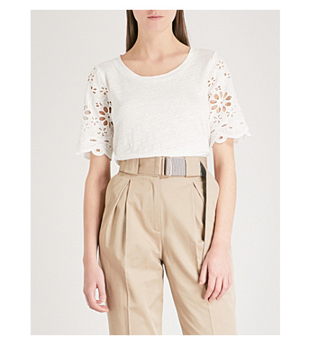 CLAUDIE PIERLOT Broderie anglaise-sleeve linen and cotton-blend T-shirt (Cream