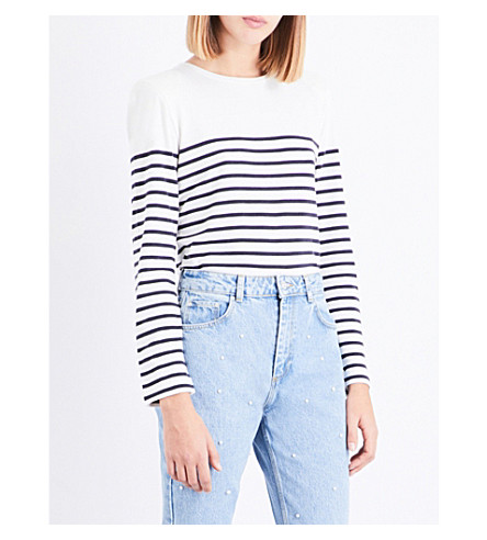 CLAUDIE PIERLOT Stripe-print cotton-blend T-shirt (Ecru
