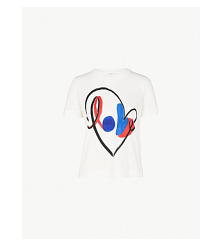 CLAUDIE PIERLOT Love-print cotton-jersey T-shirt (Ecru