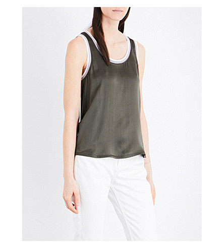 CLAUDIE PIERLOT Trip silk-satin and jersey top (Kaki