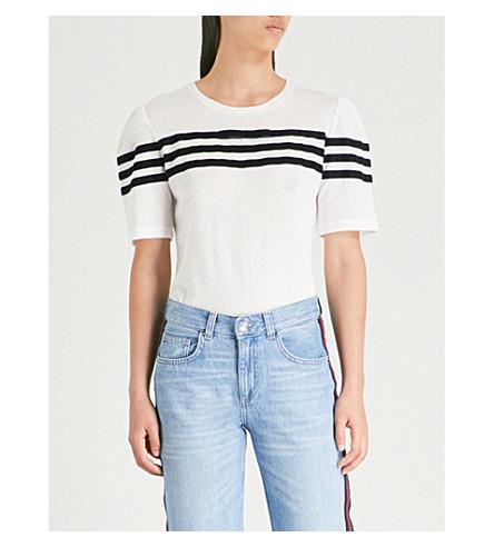 CLAUDIE PIERLOT Stripe-detail diamond-knit T-shirt (Ecru