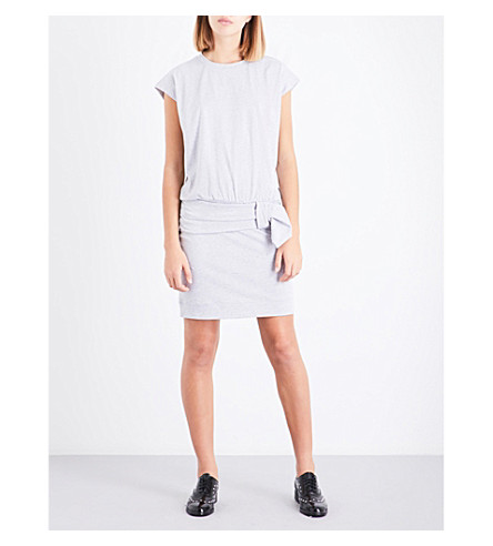 CLAUDIE PIERLOT Ruched cotton-jersey dress (Gris+chine+clair
