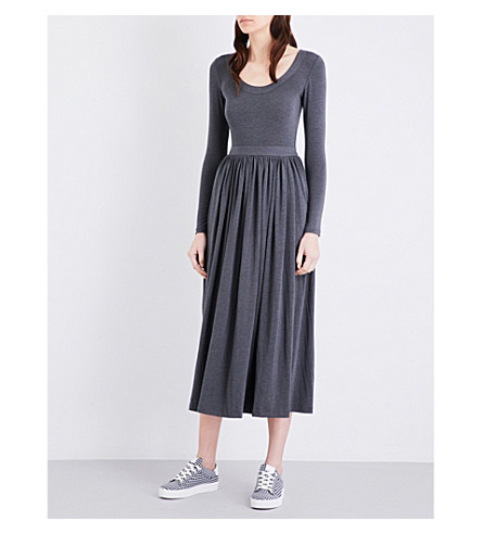 CLAUDIE PIERLOT Tale crepe midi dress (Gris+chine