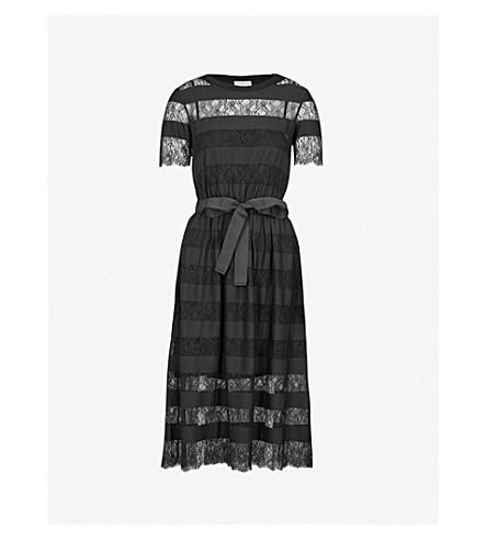 CLAUDIE PIERLOT Tactique stripe and lace dress (Black