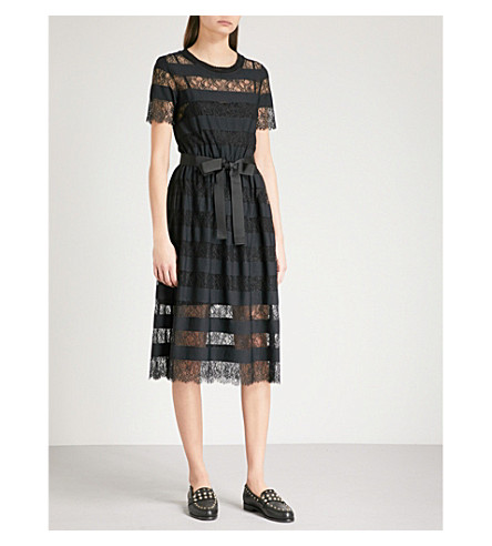 CLAUDIE PIERLOT Tactique stripe and lace dress (Black