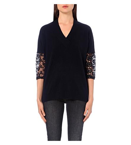 CLAUDIE PIERLOT Mania crochet-sleeve wool-blend sweater (Marine