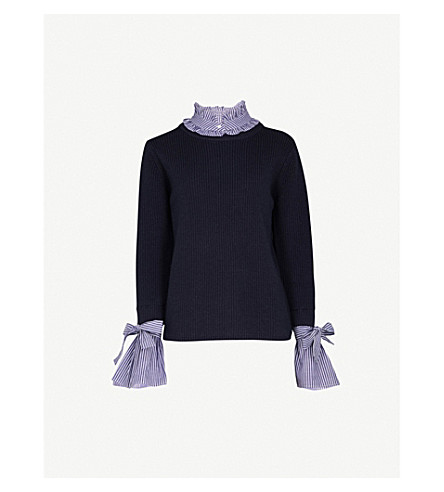 CLAUDIE PIERLOT Striped underlay wool and cotton-blend jumper (Blue